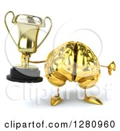 Clipart Of A 3d Gold Brain Character Holding A Trophy And Thumb Down Royalty Free Illustration