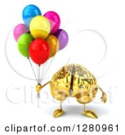 Clipart Of A 3d Gold Brain Character Holding Colorful Party Balloons Royalty Free Illustration