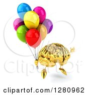 Clipart Of A 3d Gold Brain Character Facing Right Jumping And Holding Colorful Party Balloons Royalty Free Illustration