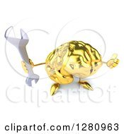 Clipart Of A 3d Gold Brain Character Holding Up A Wrench And Thumb Royalty Free Illustration