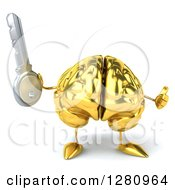 Clipart Of A 3d Gold Brain Character Holding A Key And Thumb Up Royalty Free Illustration