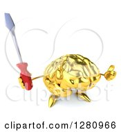 Clipart Of A 3d Gold Brain Character Holding Up A Thumb And A Screwdriver Royalty Free Illustration