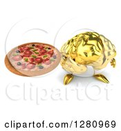 Clipart Of A 3d Gold Brain Character Holding Up A Pizza Royalty Free Illustration
