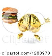 Clipart Of A 3d Gold Brain Character Holding A Double Cheeseburger And Jumping Royalty Free Illustration