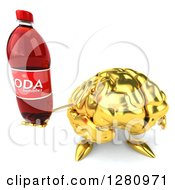Clipart Of A 3d Gold Brain Character Holding Up A Soda Bottle Royalty Free Illustration