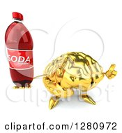 Clipart Of A 3d Gold Brain Character Holding Up A Soda Bottle And Thumb Royalty Free Illustration