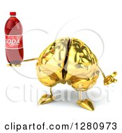 Clipart Of A 3d Gold Brain Character Shrugging And Holding A Soda Bottle Royalty Free Illustration