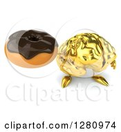 Clipart Of A 3d Gold Brain Character Holding Up A Chocolate Frosted Donut Royalty Free Illustration