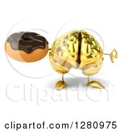Clipart Of A 3d Gold Brain Character Holding A Thumb Down And Chocolate Frosted Donut Royalty Free Illustration