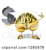 Clipart Of A 3d Gold Brain Character Holding Up A Finger And A Dollar Symbol Royalty Free Illustration