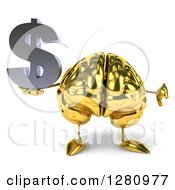 Clipart Of A 3d Gold Brain Character Holding A Dollar Symbol And Thumb Down Royalty Free Illustration