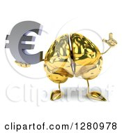 Clipart Of A 3d Gold Brain Character Holding Up A Finger And A Euro Symbol Royalty Free Illustration