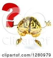 Clipart Of A 3d Gold Brain Character Jumping And Holding A Question Mark Royalty Free Illustration