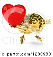 Clipart Of A 3d Gold Brain Character Facing Right Jumping And Holding A Heart Royalty Free Illustration