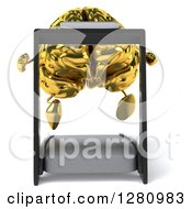 Clipart Of A 3d Gold Brain Character Running On A Treadmill Royalty Free Illustration