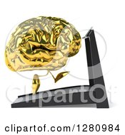 Clipart Of A 3d Gold Brain Character Facing Right And Running On A Treadmill Royalty Free Illustration