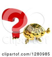 Clipart Of A 3d Gold Brain Character Holding Up A Thumb And Question Mark Royalty Free Illustration