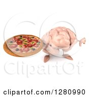 Clipart Of A 3d Brain Character Holding Up A Pizza And A Thumb Down Royalty Free Illustration