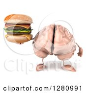 Clipart Of A 3d Brain Character Holding A Double Cheeseburger Royalty Free Illustration