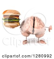 Clipart Of A 3d Brain Character Holding A Thumb Down And A Double Cheeseburger Royalty Free Illustration