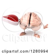 Clipart Of A 3d Brain Character Shrugging And Holding A Beef Steak Royalty Free Illustration