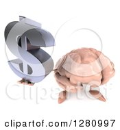 Clipart Of A 3d Brain Character Holding Up A Dollar Symbol Royalty Free Illustration