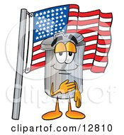 Clipart Picture Of A Garbage Can Mascot Cartoon Character Pledging Allegiance To An American Flag by Toons4Biz