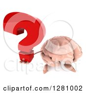 Clipart Of A 3d Brain Character Holding Up A Question Mark Royalty Free Illustration