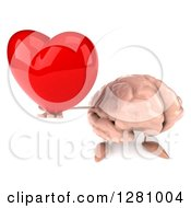 Clipart Of A 3d Brain Character Holding Up A Heart Royalty Free Illustration