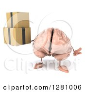 Clipart Of A 3d Brain Character Shrugging And Holding Boxes Royalty Free Illustration
