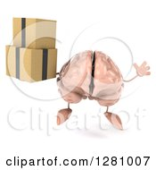 Clipart Of A 3d Brain Character Jumping And Holding Boxes Royalty Free Illustration