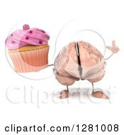 Clipart Of A 3d Brain Character Holding Up A Finger And A Pink Frosted Cupcake Royalty Free Illustration