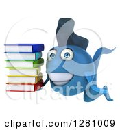 3d Happy Blue Fish Holding A Stack Of Books
