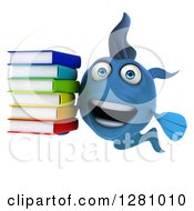 3d Excited Blue Fish Holding A Stack Of Books