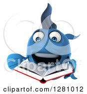 3d Excited Blue Fish Reading A Book