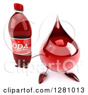 Clipart Of A 3d Hot Water Or Blood Drop Mascot Holding Up A Soda Bottle Royalty Free Illustration