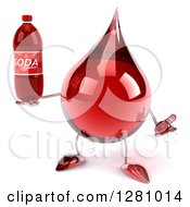 Clipart Of A 3d Hot Water Or Blood Drop Mascot Shrugging And Holding Soda Bottle Royalty Free Illustration