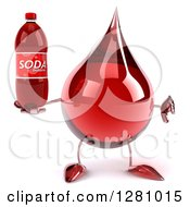 Clipart Of A 3d Hot Water Or Blood Drop Mascot Holding A Thumb Down And A Soda Bottle Royalty Free Illustration
