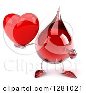 Clipart Of A 3d Hot Water Or Blood Drop Mascot Holding And Pointing To A Heart Royalty Free Illustration