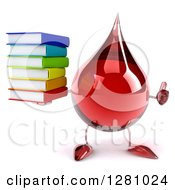 Clipart Of A 3d Hot Water Or Blood Drop Mascot Holding A Thumb Up And A Stack Of Books Royalty Free Illustration