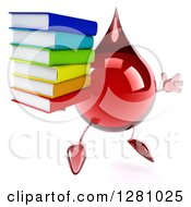 Clipart Of A 3d Hot Water Or Blood Drop Mascot Facing Slightly Right Jumping And Holding A Stack Of Books Royalty Free Illustration