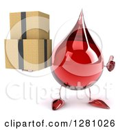 Clipart Of A 3d Hot Water Or Blood Drop Mascot Holding A Thumb Up And Boxes Royalty Free Illustration
