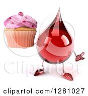Clipart Of A 3d Hot Water Or Blood Drop Mascot Shrugging And Holding A Pink Frosted Cupcake Royalty Free Illustration