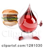 Clipart Of A 3d Hot Water Or Blood Drop Mascot Holding A Thumb Up And Double Cheeseburger Royalty Free Illustration