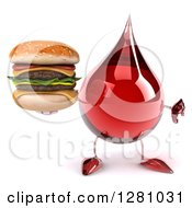 Clipart Of A 3d Hot Water Or Blood Drop Mascot Holding A Thumb Down And Double Cheeseburger Royalty Free Illustration