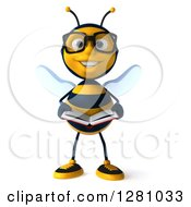Clipart Of A 3d Bespectacled Bee Character Reading A Book And Smiling Royalty Free Illustration