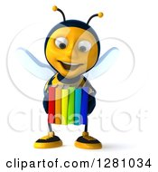Clipart Of A 3d Bee Character Holding Colorful Books Royalty Free Illustration