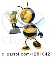 Clipart Of A 3d Bee Walking And Holding A Trophy Royalty Free Illustration