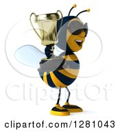 Clipart Of A 3d Bee Wearing Sunglasses Facing Right And Holding A Trophy Royalty Free Illustration