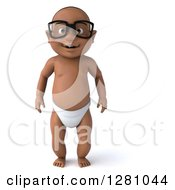 Clipart Of A 3d Happy Bespectacled Black Baby Boy Standing Royalty Free Illustration
